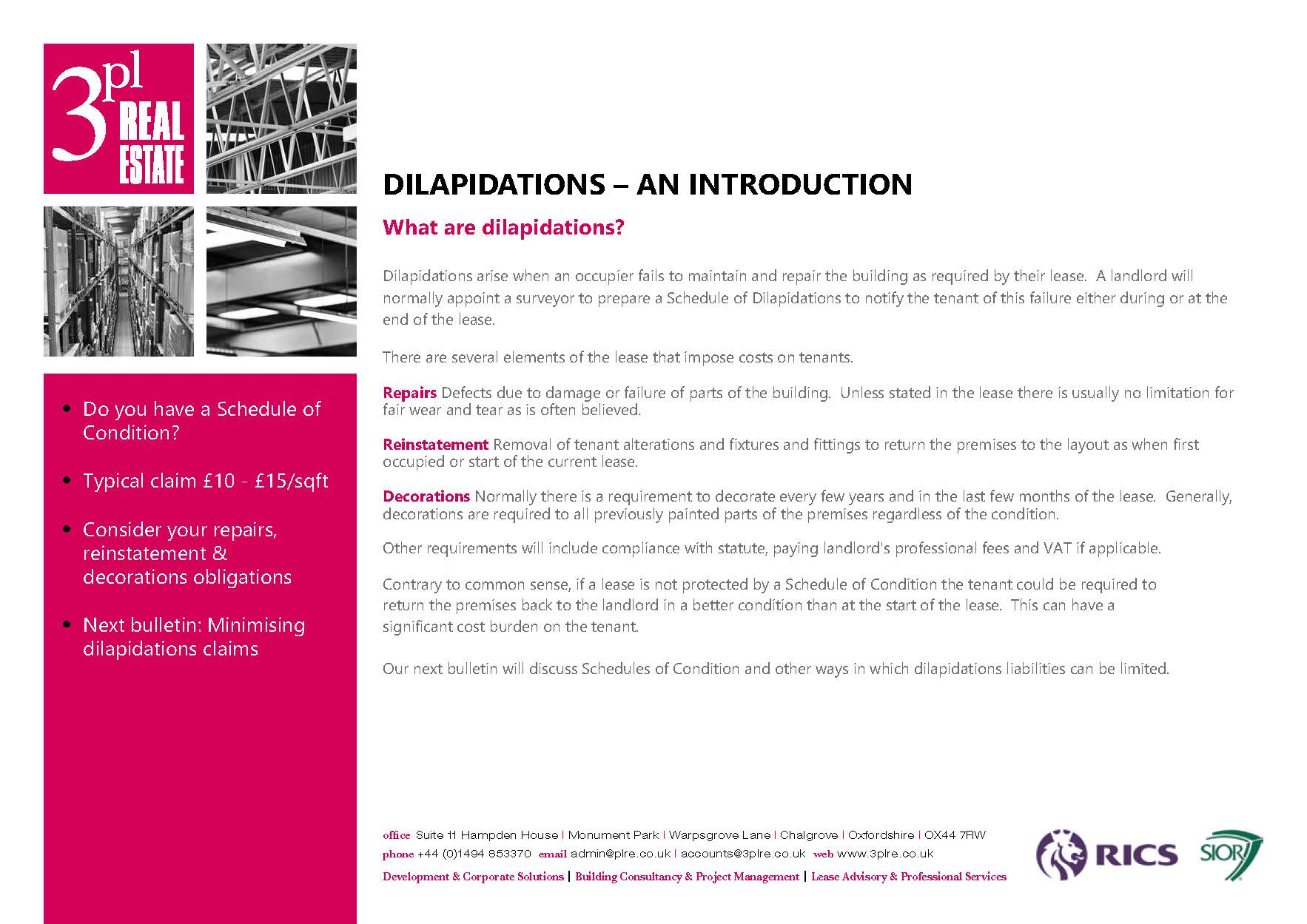 dilaps, dilapidations, schedules of condition,